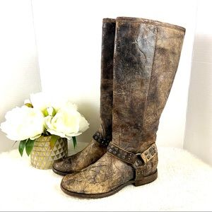 FRYE Distress Crack Leather Western Moto Tall Boot